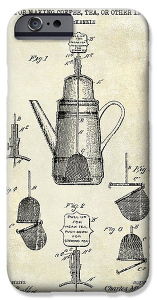 1900 iPhone Cases - 1913 Coffee or Tea Pot Patent Drawing iPhone Case by Jon Neidert