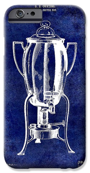 1900 iPhone Cases - 1913 Coffee Pot Patent Drawing Blue iPhone Case by Jon Neidert