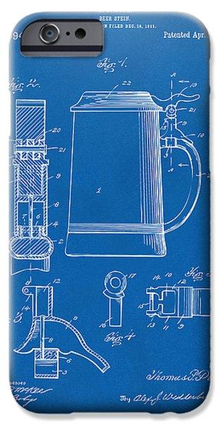Stein iPhone Cases - 1914 Beer Stein Patent Artwork - Blueprint iPhone Case by Nikki Marie Smith