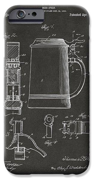 Stein iPhone Cases - 1914 Beer Stein Patent Artwork - Gray iPhone Case by Nikki Marie Smith