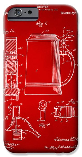 Stein iPhone Cases - 1914 Beer Stein Patent Artwork - Red iPhone Case by Nikki Marie Smith