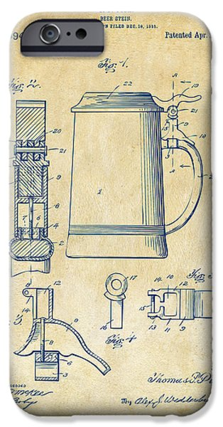 Food And Beverage Digital iPhone Cases - 1914 Beer Stein Patent Artwork - Vintage iPhone Case by Nikki Marie Smith