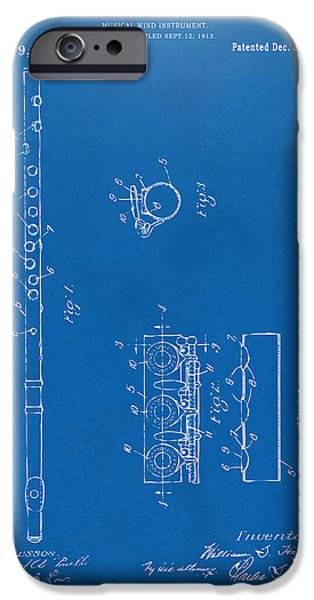 Flute iPhone Cases - 1914 Flute Patent - Blueprint iPhone Case by Nikki Marie Smith