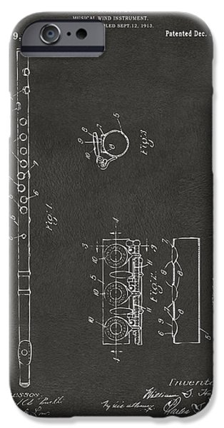 Marching Band iPhone Cases - 1914 Flute Patent - Gray iPhone Case by Nikki Marie Smith