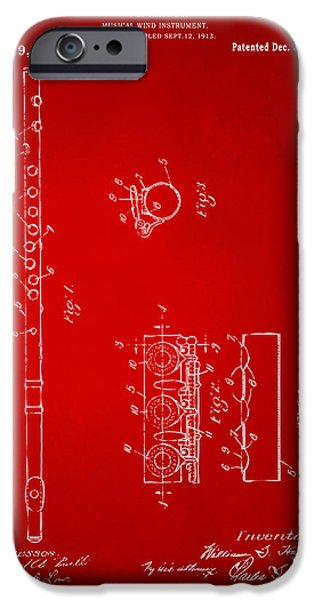 Marching Band iPhone Cases - 1914 Flute Patent - Red iPhone Case by Nikki Marie Smith
