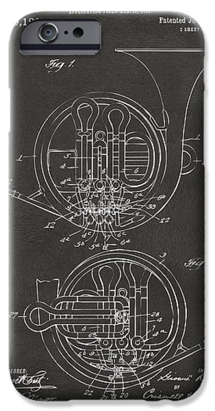 Marching Band iPhone Cases - 1914 French Horn Patent Art - Gray iPhone Case by Nikki Marie Smith