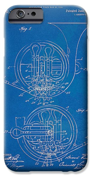Marching Band iPhone Cases - 1914 French Horn Patent Blueprint iPhone Case by Nikki Marie Smith
