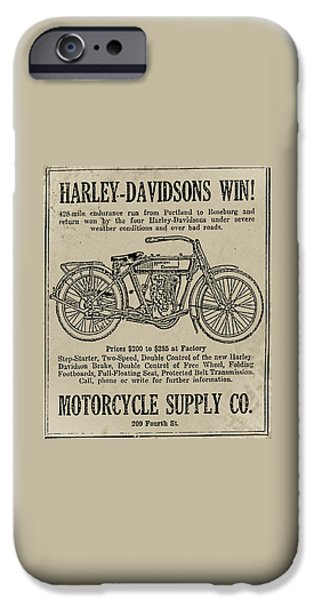 1914 iPhone Cases - 1914 Harley Davidson Endurance Run iPhone Case by Bill Cannon