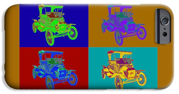 Ford Model T Car iPhone Cases - 1914 Model T Ford Antique Car Pop Art iPhone Case by Keith Webber Jr