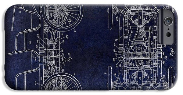 1914 iPhone Cases - 1914 Packard Patent Drawing Blue iPhone Case by Jon Neidert