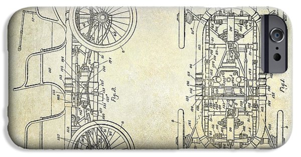 1914 iPhone Cases - 1914 Packard Patent Drawing  iPhone Case by Jon Neidert