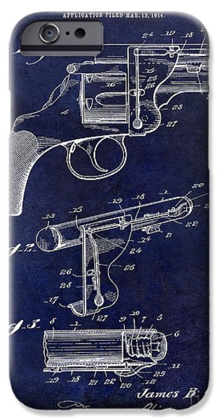 1914 iPhone Cases - 1914 Revolver Light Patent Drawing  Blue iPhone Case by Jon Neidert