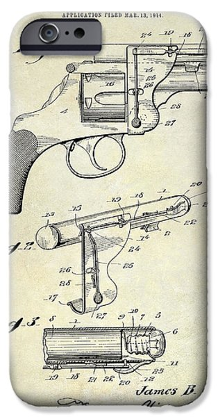 1914 iPhone Cases - 1914 Revolver Light Patent Drawing iPhone Case by Jon Neidert