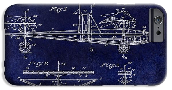 Airplanes Photographs iPhone Cases - 1914 Water Land and Air Machine Patent Blue iPhone Case by Jon Neidert