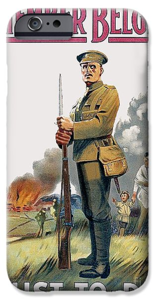 World War One Digital Art iPhone Cases - 1915 - British Enlistment Poster - Remember Belgium - World War One - Color iPhone Case by John Madison