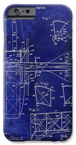 Airliner iPhone Cases - 1915 Aeroplane Patent Drawing Blue iPhone Case by Jon Neidert