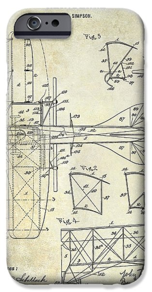 Airliner iPhone Cases - 1915 Aeroplane Patent Drawing iPhone Case by Jon Neidert