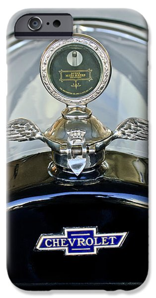 Motometer iPhone Cases - 1915 Chevrolet Touring Hood Ornament iPhone Case by Jill Reger