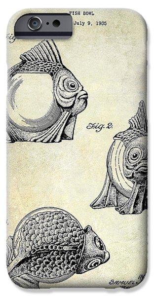 Shark iPhone Cases - 1915 Fish bowl Patent Drawing  iPhone Case by Jon Neidert