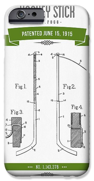 Hockey Mixed Media iPhone Cases - 1915 Hockey Stick Patent Drawing - Retro Green iPhone Case by Aged Pixel