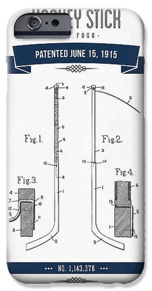 Hockey Mixed Media iPhone Cases - 1915 Hockey Stick Patent Drawing - Retro Navy Blue iPhone Case by Aged Pixel