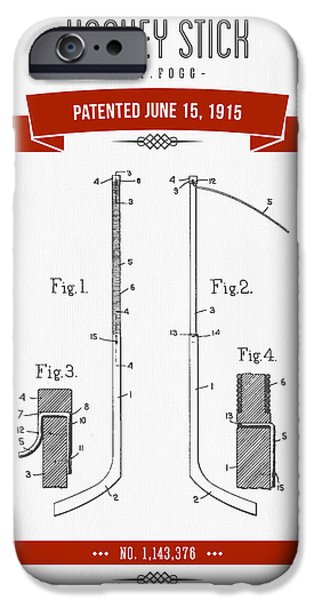 Hockey Mixed Media iPhone Cases - 1915 Hockey Stick Patent Drawing - Retro Red iPhone Case by Aged Pixel