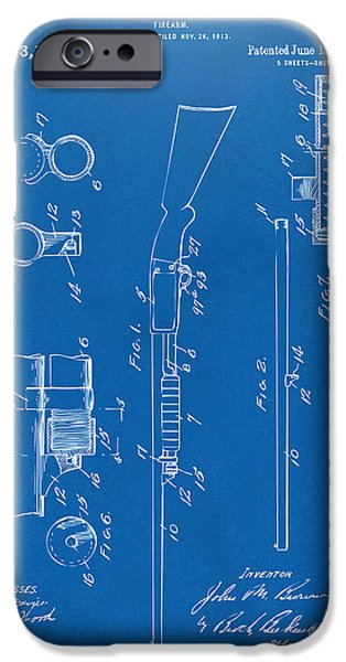 Ithaca iPhone Cases - 1915 Ithaca Shotgun Patent Blueprint iPhone Case by Nikki Marie Smith