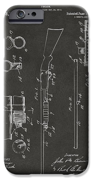 Ithaca iPhone Cases - 1915 Ithaca Shotgun Patent Gray iPhone Case by Nikki Marie Smith