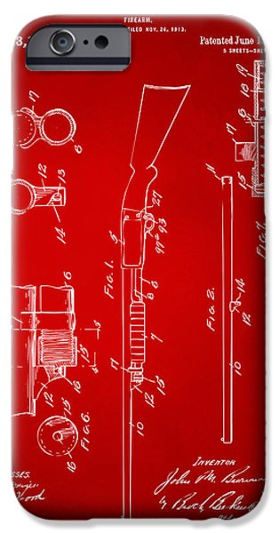 Ithaca iPhone Cases - 1915 Ithaca Shotgun Patent Red iPhone Case by Nikki Marie Smith