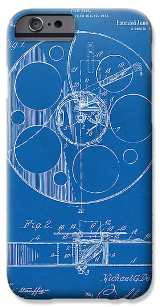 Reeling iPhone Cases - 1915 Movie Film Reel Patent Blueprint iPhone Case by Nikki Marie Smith