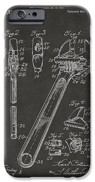 Workshop iPhone Cases - 1915 Wrench Patent Artwork - Gray iPhone Case by Nikki Marie Smith