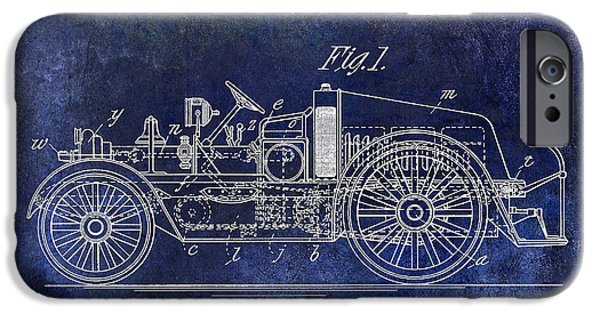 1916 Photographs iPhone Cases - 1916 Automobile Fire Apparatus Patent Drawing Blue iPhone Case by Jon Neidert