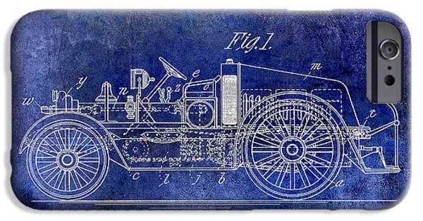 1916 Photographs iPhone Cases - 1916 Automobile Fire Apparatus Patent Drawing Lt Blue iPhone Case by Jon Neidert