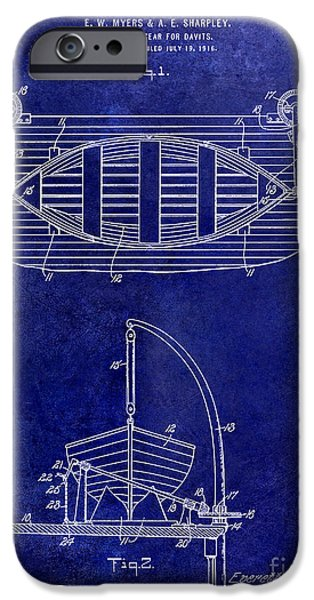Cape Cod iPhone Cases - 1917 Davit Patent Drawing Blue iPhone Case by Jon Neidert