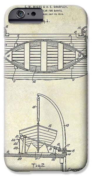 Cape Cod iPhone Cases - 1917 Davit Patent Drawing  iPhone Case by Jon Neidert