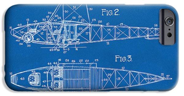 Curtiss iPhone Cases - 1917 Glenn Curtiss Aeroplane Patent Artwork 2 Blueprint iPhone Case by Nikki Marie Smith