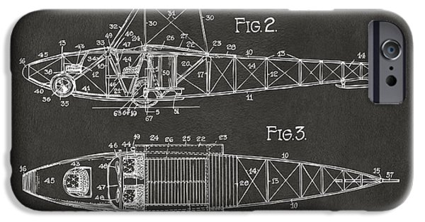Curtiss iPhone Cases - 1917 Glenn Curtiss Aeroplane Patent Artwork 2 - Gray iPhone Case by Nikki Marie Smith