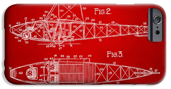 Curtiss iPhone Cases - 1917 Glenn Curtiss Aeroplane Patent Artwork 2 Red iPhone Case by Nikki Marie Smith