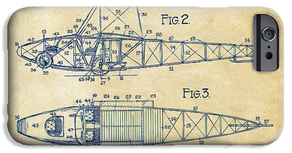Curtiss iPhone Cases - 1917 Glenn Curtiss Aeroplane Patent Artwork 2 Vintage iPhone Case by Nikki Marie Smith