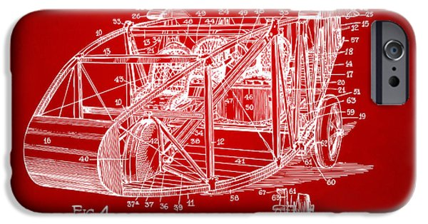 Curtiss iPhone Cases - 1917 Glenn Curtiss Aeroplane Patent Artwork 3 Red iPhone Case by Nikki Marie Smith