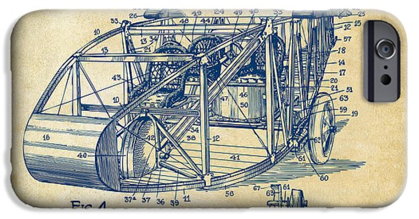 Curtiss iPhone Cases - 1917 Glenn Curtiss Aeroplane Patent Artwork 3 Vintage iPhone Case by Nikki Marie Smith