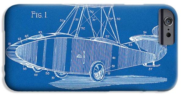Curtiss iPhone Cases - 1917 Glenn Curtiss Aeroplane Patent Artwork Blueprint iPhone Case by Nikki Marie Smith