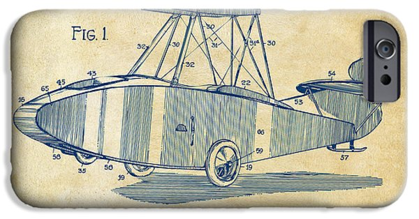Curtiss iPhone Cases - 1917 Glenn Curtiss Aeroplane Patent Artwork Vintage iPhone Case by Nikki Marie Smith