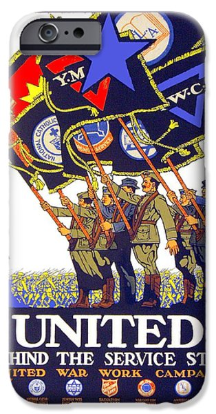 World War One Digital Art iPhone Cases - 1918 - United War Work Campaign Poster - World War One - Color  iPhone Case by John Madison