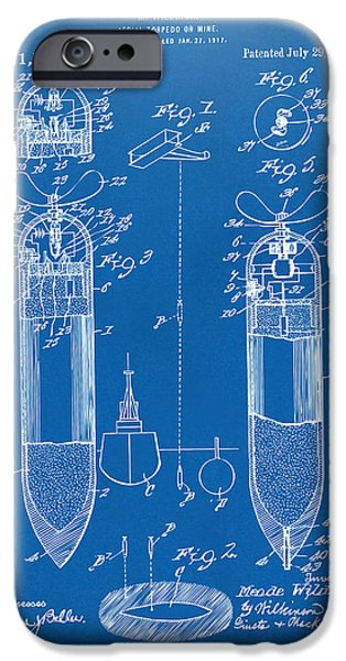 World War 1 iPhone Cases - 1919 Aerial Torpedo Patent Artwork - Blueprint iPhone Case by Nikki Marie Smith