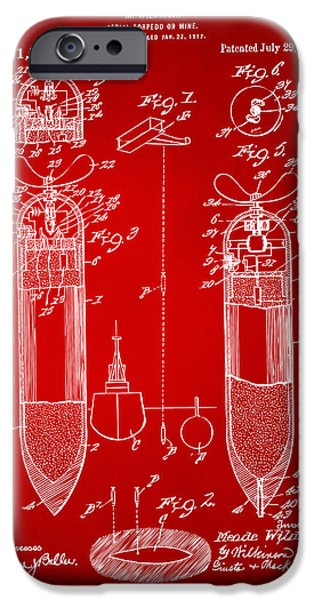 World War 1 iPhone Cases - 1919 Aerial Torpedo Patent Artwork - Red iPhone Case by Nikki Marie Smith