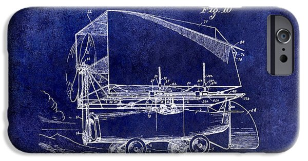 Airliner iPhone Cases - 1919 Airship Patent Drawing Blue iPhone Case by Jon Neidert