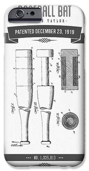 Baseball Glove iPhone Cases - 1919 Baseball Bat Patent Drawing iPhone Case by Aged Pixel