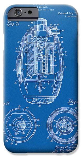 World War 1 iPhone Cases - 1919 Hand Grenade Patent Artwork - Blueprint iPhone Case by Nikki Marie Smith