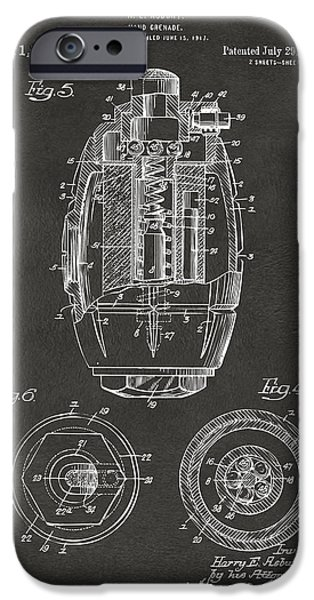 World War 1 iPhone Cases - 1919 Hand Grenade Patent Artwork - Gray iPhone Case by Nikki Marie Smith